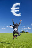 Euro Sign from the Clouds Royalty Free Stock Photos