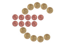 Euro sign from coins Stock Photography