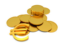 Euro sign and coins Stock Images