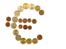 Euro sign from coins Royalty Free Stock Image