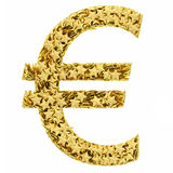 Euro sign composed of golden stars. Isolated on white. High resolution 3D image royalty free illustration