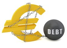 Euro sign connected in a chain of debt Stock Image