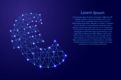 Euro sign currency from polygonal blue lines, glowing stars  illustration Royalty Free Stock Photography