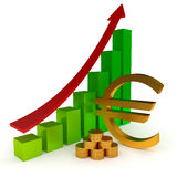 Euro sign Diagram business. 3d illustration on the white Royalty Free Stock Images