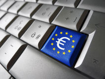 Euro Sign And EU Computer Key Royalty Free Stock Photo