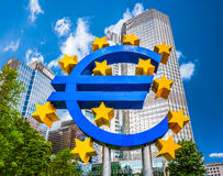 Euro sign at European Central Bank in Frankfurt, Germany Stock Photo