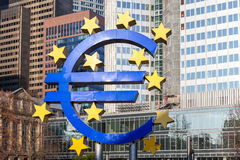 Euro sign at European Central Bank headquarters in Frankfurt, Germany Royalty Free Stock Image