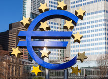 Euro sign at European Central Bank headquarters in Frankfurt, Germany Stock Photo