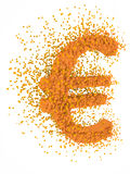 Euro sign exploding. Golden euro sign exploding, over white background Royalty Free Stock Photos