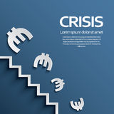 Euro sign falling down the stairs as a symbol of. European recession crisis. Eps10 vector illustration Stock Image