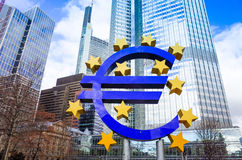 Euro Sign. February 12 : . European Central Bank (ECB) is the central bank for the euro and administers the monetary policy of the Eurozone. February 12, 2014 royalty free stock photos