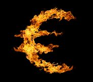 Euro sign from fire flame. Royalty Free Stock Image