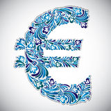Euro sign with floral patterns. Royalty Free Stock Photos