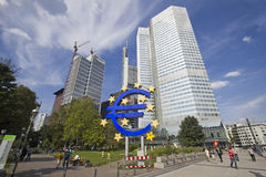 Euro Sign in Frankfurt, Germany Stock Images