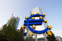 Euro sign and European Central Bank Stock Image