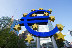 Bank with euro sign Stock Photo