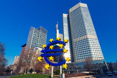 Euro sign in Frankfurt am Main, Germany Royalty Free Stock Image