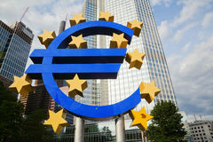 Euro sign in Frankfurt. Euro sign with stars in front of the European Central Bank in Frankfurt am Main, Germany royalty free stock photo