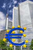 Euro sign. In front of bank buildings in Frankfurt Am nain stock images