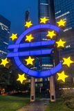 Euro sign. In front of banks in Frankfurt royalty free stock photo