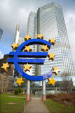 Euro sign in front of building of the European Central Bank Royalty Free Stock Images