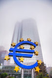 Euro sign in front of the European Central Bank building Stock Photography