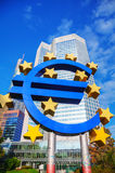 Euro sign in front of the European Central Bank building Stock Image