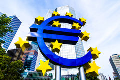 Euro Sign in front of the European Central Bank in Frankfurt, Germany Royalty Free Stock Image