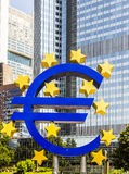 Euro sign in front of the European Central Bank in Frankfurt am Main Stock Photo