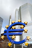 Euro sign in front of Eurotower, European Central Bank Stock Image