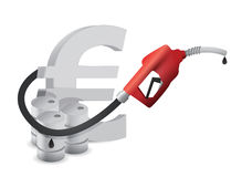 Euro sign with a gas pump nozzle Royalty Free Stock Photos
