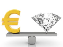 Euro sign and gem on seesaw on white Stock Photo