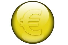 Euro sign in a glassy orb. The euro sign represented in a yellow glassy orb and isolated on a white background Stock Photography