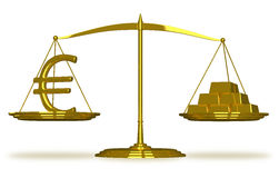 Euro sign and gold bars on scales Royalty Free Stock Images
