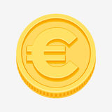 Euro sign on gold coin. Euro currency symbol on gold coin, money sign vector illustration isolated on white background Royalty Free Stock Photos