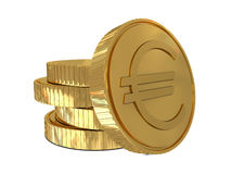 Euro sign in golden coin Stock Image