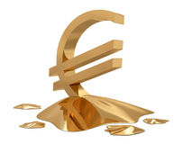 Euro sign golden melt. On white background Stock Photos