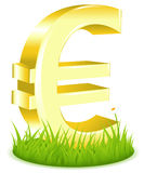 Euro Sign On Grass. Vector Royalty Free Stock Photo
