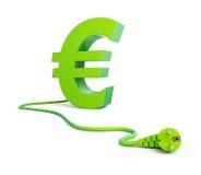 Euro sign green power plug Stock Photo