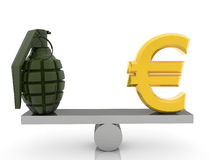 Euro sign and grenade on seesaw  on white Royalty Free Stock Photo