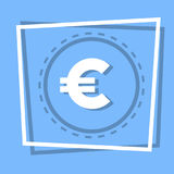 Euro Sign Icon Currency Web Button. Flat Vector Illustration Royalty Free Stock Photos