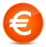 Euro sign icon elegant orange round button. Euro sign icon isolated on elegant orange round button abstract illustration Royalty Free Stock Images