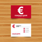 Euro sign icon. EUR currency symbol. Business card template. Euro sign icon. EUR currency symbol. Money label. Phone, globe and pointer icons. Visiting card Royalty Free Stock Photo