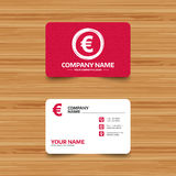 Euro sign icon. EUR currency symbol. Business card template with texture. Euro sign icon. EUR currency symbol. Money label. Phone, web and location icons Stock Photos