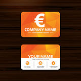 Euro sign icon. EUR currency symbol. Business or visiting card template. Euro sign icon. EUR currency symbol. Money label. Phone, globe and pointer icons Stock Photos