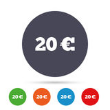20 Euro sign icon. EUR currency symbol. Money label. Round colourful buttons with flat icons. Vector Royalty Free Stock Images