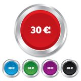 30 Euro sign icon. EUR currency symbol. Money label. Round metallic buttons Stock Images