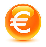 Euro sign icon glassy orange round button Stock Image