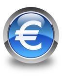 Euro sign icon glossy blue round button. Euro sign icon isolated on glossy blue round button abstract illustration Stock Photos