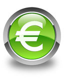Euro sign icon glossy green round button. Euro sign icon isolated on glossy green round button abstract illustration Stock Photo